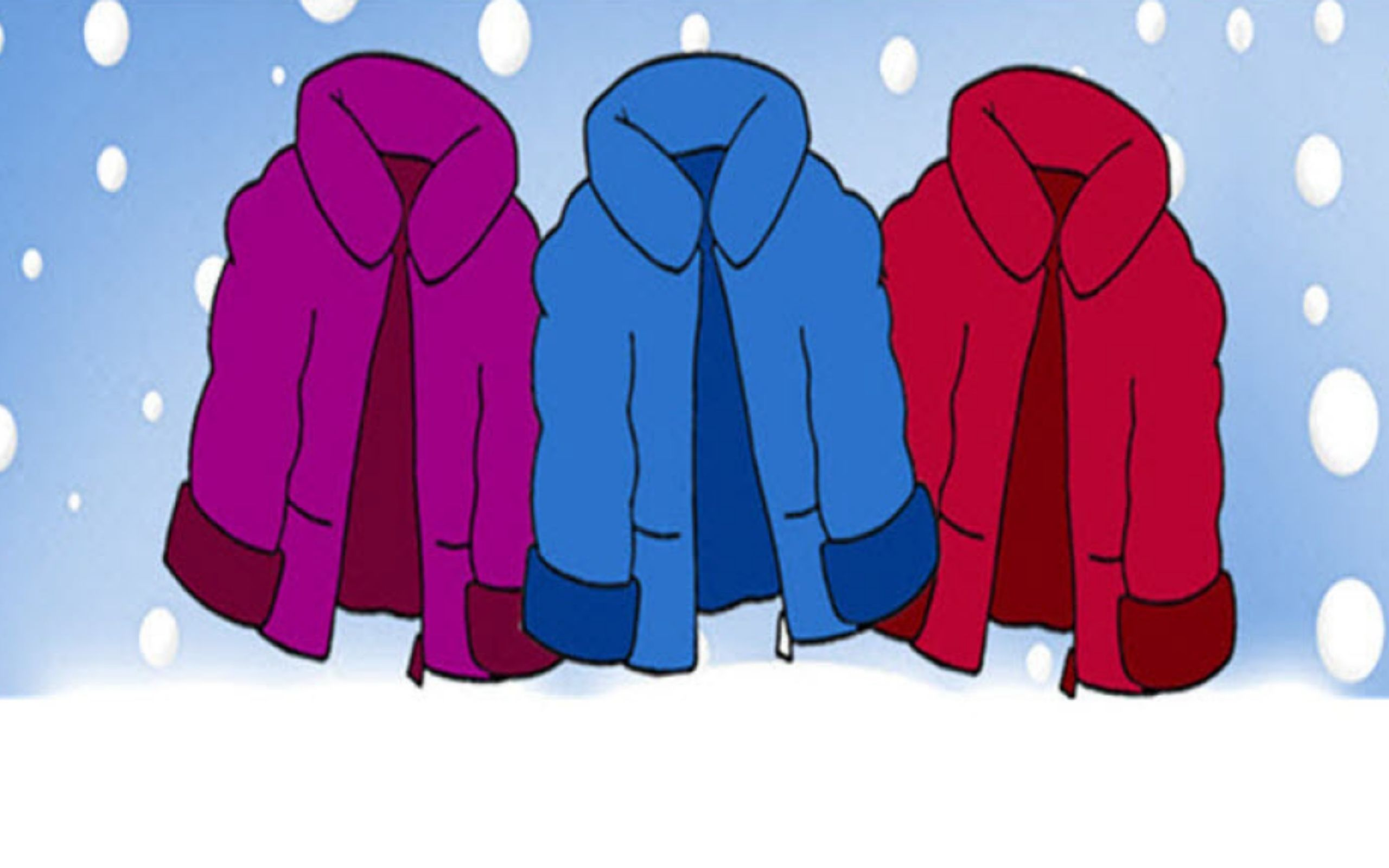 cartoon coats in front of a snowy backdrop